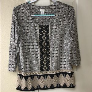 Chicos beaded black/brown/white print top size 2